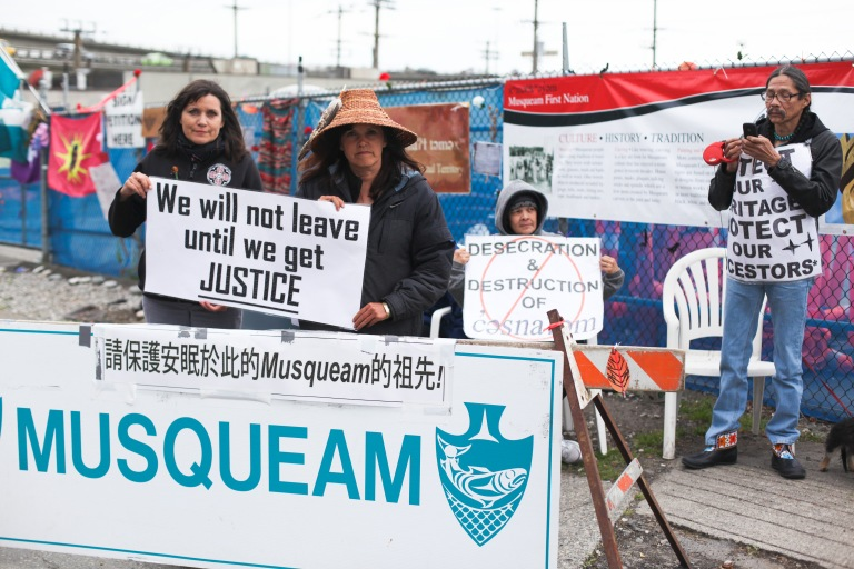 Cecilia Point (left) and Mary Point at the Musqueam blockade. Photo by David P. Ball