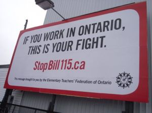 Elementary Teachers Federation of Ontario billboard. photo: media co-op