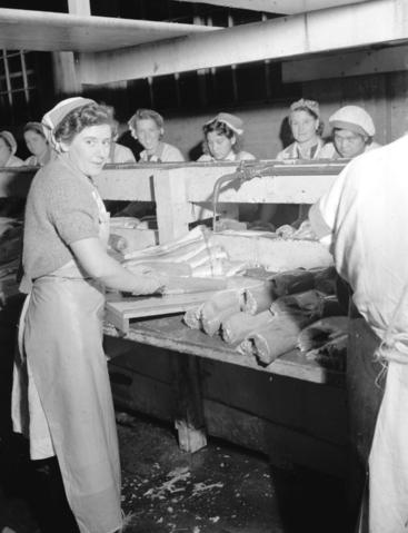 Workers in salmon cannery - City of Vancouver Archives