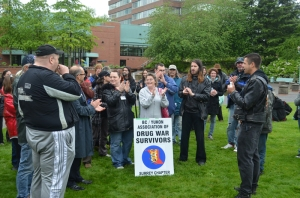 Drug users and organizations that support people who are dependent on drugs gathered at Abbotsford City Hall  yesterday afternoon to announce the launch of a lawsuitand human rights complaint that will be filed against the City of Abbotsford. photo - pivot legal