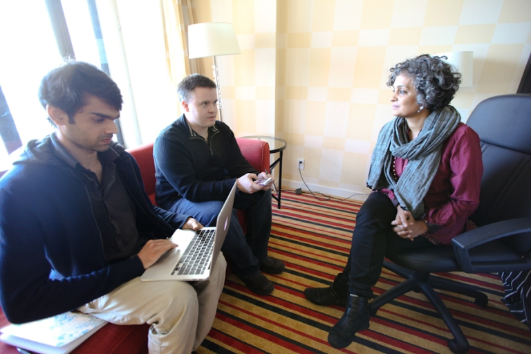 Author Arundhati Roy interviewed in her Vancouver hotel by Media Mornings hosts Derrick O'Keefe and Jahanzeb Hussain (left). Photo by David P. Ball