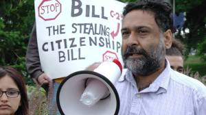 Gupreet Singh at Rally against Bill C-24. Photo by Devin Gillan
