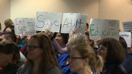 Supporters of Adult Education in Vancouver. Image: CBC