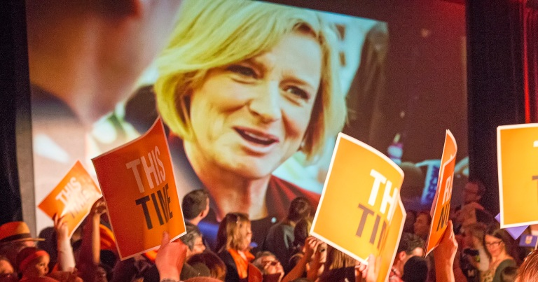 Rachel Notley at Mzy 3rd Rally in Edmonton. Image: Rabble.ca