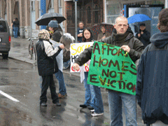Activists protest SRO sales at a demonstration in Vancouver Photo by Tom Sandborn, thetyee.ca