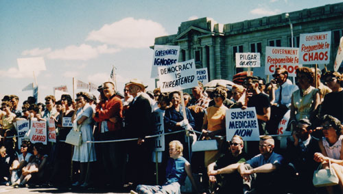 Protesting the implementation of medicare, July 11, 1962. Saskatchewan Archives Board R-A12109-4